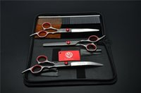 Hair Scissors 4Pcs Set 3001# 7'' 19cm Hairdressing Bent Down Dogs Cats Pets Comb +Cutting +Thinning + Curve Shears Suit