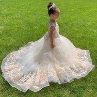 Girl's Dresses Ivory Tulle Flower Girl Sheer Neck Todder Puffy Ball Gown For Wedding Communion Pageant Kids 2021