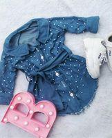 Moda Toddler Çocuk Bebek Kız Elbiseler Dressclothes Uzun Kollu Denim İnci Kemer Tek Göğüslü Bahar