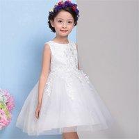 Vestidos de chicas de lazo grande blancas para el vestido de la niña del niño del lace para tul para el vestido de la muchacha de la flor para la boda y la oferta especial de cumpleaños 738 v2