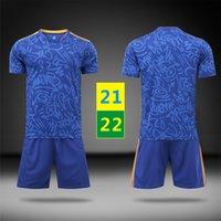 US FAST 21 22 Fotbollsuppsättningar Tracksuiter Blå Kortärmad kostym Fotboll bort Maillots Mens Kids Uniforms Barnträning T-shirt 2021 2022 med logotyp