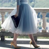 5 طبقات 60 سنتيمتر الأميرة ميدي تول تنورة مطوي الرقص توتو إمرأة لوليتا ثوب نسائي jupe saia faldas حزب منتفخ التنانير