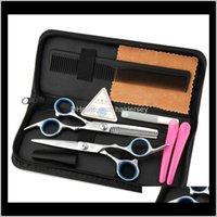 Produtos de cuidado Drop entrega 2021 Venda 5 pcs ferramentas de cabeleireiro 6dot0 polegadas Barber Kits Clipper Razor Combinação Pacote Styling Scissors Hai