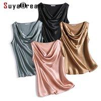 Tanques de mujer Camis Suyadream Mujeres Seda Silk SHIRT100% Real Satén Cuello cubierto Sin mangas sin mangas Tops 2021 Chalecos de verano sólidos