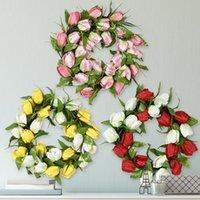 الزهور الزخرفية محاكاة إكرهار باب الديكور توليب غابة الزفاف المنزل الروطان دائرة