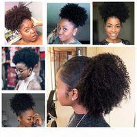 Best Natural Kinky Кудрявые человеческие волосы Hairstraining Ponytail Virgin Kinky волос ткачество для волос для волос для волос 120 г для черных женщин