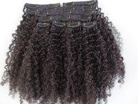 Extensões de cabelo virgem humana mongol com pano de laço 9 peças com 18 clipes clipe no cabelo kinky cabelo encaracolado marrom escuro cor negra natural