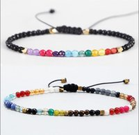 Chakra Stone Beaded Bracelets Strands 3mm 12 Constellations Bohemian Simple Design Beads Adjustable Lucky Zodiac Signs Braided Bangles Jewelry for Men Women Gifts
