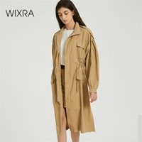 Women Spring Autumn Solid Trench Coat long Outerwear loose clothes for lady with belt Casual 210512