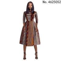 Ethnic Clothing Africa Kaftan Dubai Abaya Digital Print Women's Back V-neck Three-quarter Sleeve Dress Indonesian Style Long Skirt FQID