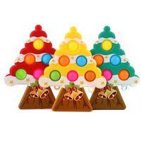 Christmas Finger Toys Pendant Party Favor Silicone Desktop Decompression Toy Push Bubble Sensory Novelty Puzzle Gam Luggage Decoration