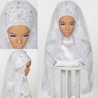 Veli da sposa matrimonio musulmano per spose 2021 ISLAMIC Hijab perline cristalli in pizzo appliques bordo bordo a gomito lunghezza coprente