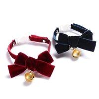 Colliers de chat mène du collier de velours Bowknot Boucle de sécurité réglable Boucle de sécurité Gatos Accessoires pour chats avec couleur solide