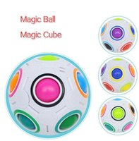 DHL Rainbow Ball Puzzles Spheric Magic Cube Toy Adult Kids Plastic Creative Football Learning Educational Toys Gifts For Children Gift