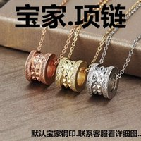necklaces Baojia titanium steel small waist necklace, women's red man hollow out fashion full diamond pendant, Dongguan jewelry