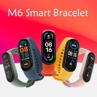 M6 Akıllı Bilezik Bileklikleri Spor Izci Gerçek Kalp Hızı Kan Basıncı Monitör Ekran IP67 Android Cep Telefonları Için Su Geçirmez Spor İzle vs M4 M5 ID115 Artı