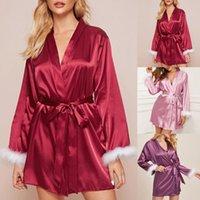 Women's Sleepwear Satin Silk Pajamas Robe Kimono Women Lingerie Robes Underwear Long Sleeve Bathrobe Sexy Oc6