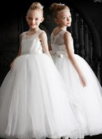 O-Neck Applique Tulle Birthday Christmas Wedding Party Events Kids Formal Wear Girls Pageant Sleeveless Flower Dresses Girl's