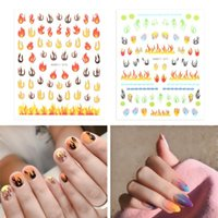 Color 3D Thin Laser Holographic Fire Flame Nail Vinyls Stencil Hollow Stickers Fires On Manicure Stencil Stickers Nail Art Decor