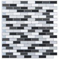 Art3d 30x30 cm Peel ve Sopa Backsplash Fayans 3D Duvar Çıkartmaları Mozaik Tasarım Siyah Med Gri Beyaz Mutfak Banyo için Gri Beyaz Kendinden Yapışkanlı Su Geçirmez, Duvar Kağıtları (10 adet)