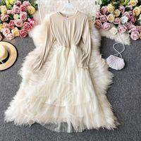 Heeylace vintage slim malla remiendo otoño largo plisado vestido fiesta elastic vestido de festa mujeres elegante túnica vestidos casuales