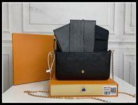 Clássico luxurys designers bolsa de bolsa de bolsa de felicie em gravação de bolsas de couro genuíno bolsa de ombro bolsa de bolsa de embreagem cadeia de bolsas de compras com caixa