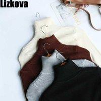 Lizkova Bianco TurtrleNeck Slim Maglione Donne Balck a coste a maniche lunghe a maniche lunghe a maniche lunghe Autunno 2020 Signore Tops1