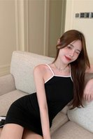 Платье подвеска Женское лето Spice девушка сексуальная темперамент талия стройная черная короткая юбка модный