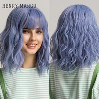 Cosplay Light Blue Purple Short Water Wave Wig Colored Synthetic Wig with Bangs for White Women Heat Resistant Fiberfactory direct
