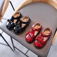 الفتيات الأحذية الجلدية الاطفال الأزياء النمط البريطاني أكسفورد t- حزام مع القوس عقدة 2021 ربيع الخريف الطفل الشقق عارضة لينة جديد x0719