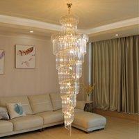 60cm 70cm 80cm 100cm contemporary  gold long crystal stair chandelier lighting high ceiling pendant lamp for villa hotel
