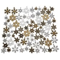 Charms 40pcs Mix Metal Zinc Alloy Christmas Snowflakes Fit Jewelry Pendant For DIY Necklace Bracelet Making Findings
