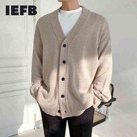 IEFB Coréen Single Coller V Collier Kintté Cardigan Pull Cardigan Pour hommes Vêtements de dessus Vendeur Trendy Beau Mens Hommes Spring Automne 9Y4499