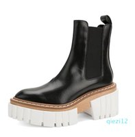 2021 style sheepskin leather Cowskin Platform Ankle Boots booties Casual party Dress shoes round toe 6.5cm heels mix colour black white