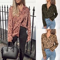 Brand Womens Sexy Leopard Print V-Neck Shirt Long Sleeve Tops Ladies Casual Loose Odycon Single-breasted Blouse Women's Blouses & Shirts