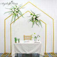 Decorative Flowers & Wreaths Wedding Arch Props Frame Wrought Iron Geometric Shelf Outdoor Stage Backdrop Layout Decor Road Guide Flower Sta