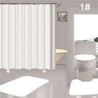 Simple Style Shower Curtains Waterproof Bathing Curtain Non Slip Rugs Toilet Mat Set Bathroom Accessories 4 Piece Sets