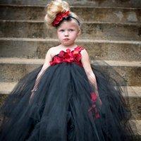 Girl's Dresses Ankle-legth Flower Girls Tutu Dress Stunning Black Princess Party Kids Tulle Teen Girl Birthday Wedding Costume