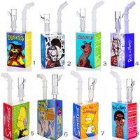 Разнообразные виды курения кальян DAB буровые установки Hitman Liauid сок квадратная коробка стеклянные водопроводные трубы Bubbler Bongs 14,4 мм мужского сустава