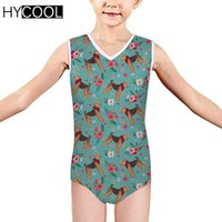 Swimsuit Children Girls Airedale Terrier Flower Kids Swimwear One-piece Suits Bandage Baby 3-14 Years Swimming Suit