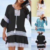 Kadınlar için Günlük Elbiseler Moda 2021 Yaz Elbise Plaj Kapak Up Mayo Tığ Beachwear Banyo