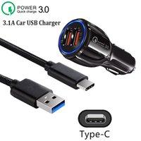 QC 3.0 3.1A Dual USB Caricabatteria da auto USB Micro USB Type-C Cable per Samsung Galaxy Huawei Xiaomi Mi 8 9 Lite Redmi Nota 8T 8 7 6 5 4 Pro 4A 4x 5A Caricabatterie