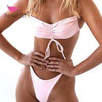 Bikinis Set 2021 Women Bandeau Biquini Push Up Bikini String Strap Swimsuit Sexy Swimwear Female Bathing Suit Summer