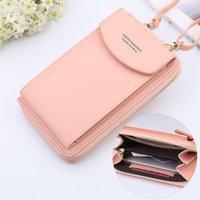 Evening Bags Women Purses Solid Color Leather Shoulder Strap Bag Mobile Phone Big Card Holders Wallet Handbag Pockets For Girls