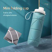 Faltbare kalte Wasserflasche Reisespeicher liefert Silikon-Kunststoff-Topf einziehbarer praktischer Tasse mit Seilcamping