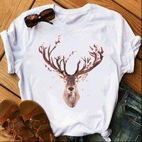 T-shirt da donna Merry Christmas Elk Tshirt Donne Cartoon Stampato Plus Size Anno O Collo Manica corta Top Tee Shirt