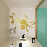 Wall Stickers DIY Art Mural Creative Exquisite Flower 3D Mirror Removable Decal Home Bedroom TV Background Decoration 120 X 90cm