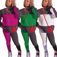 Women Tracksuits Two Piece set fall winter clothing printing fleece crew neck sweatshirt pants sportswear pullover leggings capris bodysuits running sets 01579