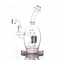 Hookahs 8.6inch mushroom bong Pink Dab Rig Showerhead Perc Glass Water Pipe Ball Style Oil Rigs Unique Bongs smoking pipes 14mm Joint