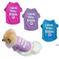 T-shirt da cucciolo di abbigliamento per cani T-shirt da estate I dotato di baci gratuiti stampati in cotone gilet di cotone piccolo cani gatto chihuahua outfit DWA4558